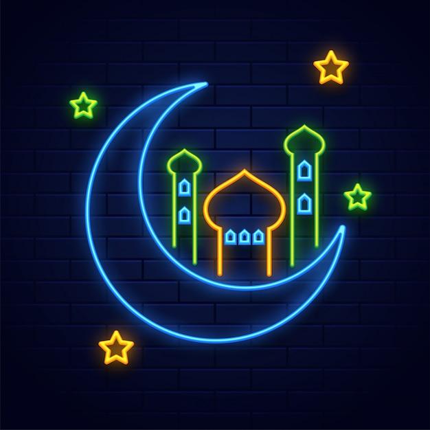 Efeito de iluminação de néon lua crescente com mesquita e estrelas em azul Vetor Premium