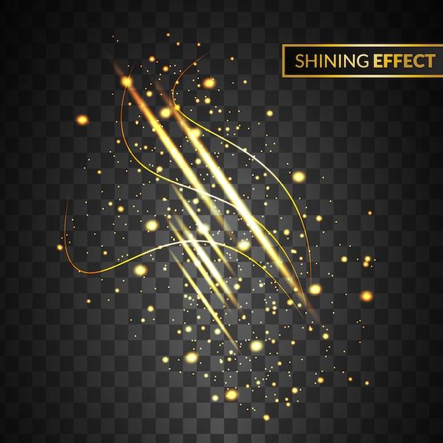 Efeito de luz abstrato ouro com brilho isolado em fundo transparente Vetor Premium