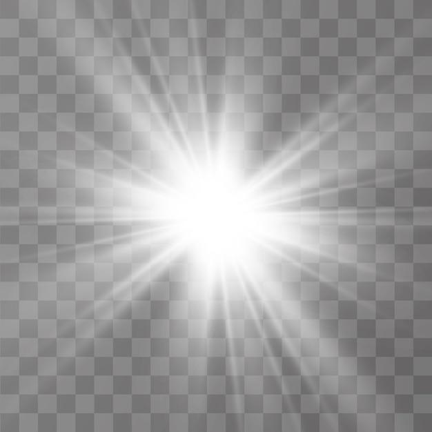 Efeito de luz brilhante. a estrela explodiu em brilhos. ilustração Vetor Premium