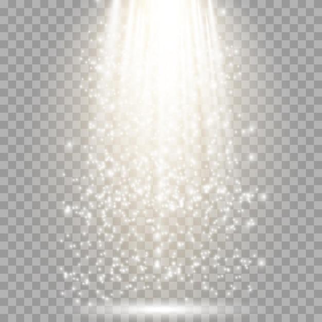 Efeito de luz brilhante com raios e vigas de ouro. Vetor Premium