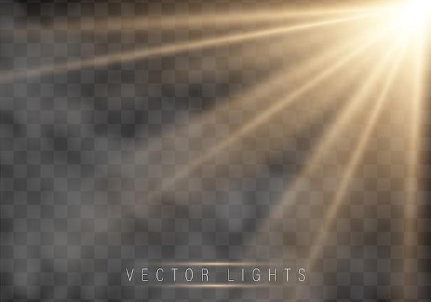 Efeito de luz brilhante. estrela estourou com brilhos. Vetor Premium