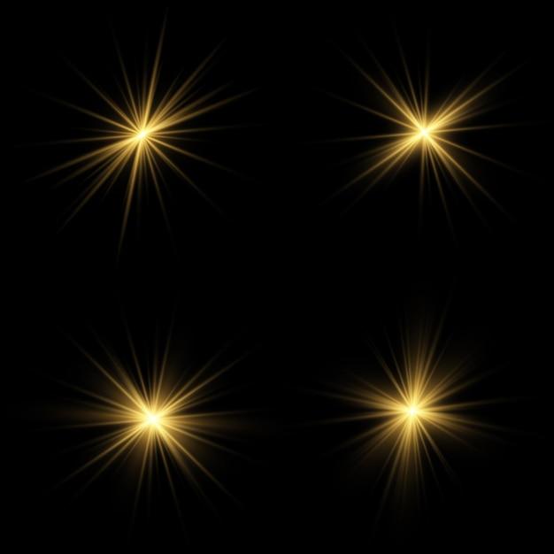 Efeito de luz de brilho. star explodiu com brilhos. sol. Vetor Premium