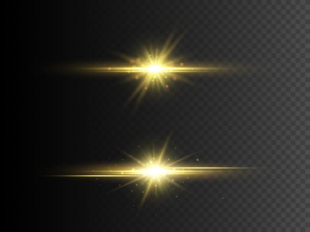 Efeito de luz de brilho transparente. estrela de glitter dourados com brilhos. Vetor Premium