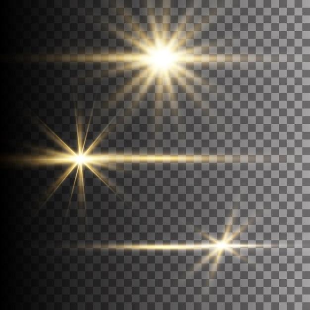 Efeito de luz de flash de lente especial de luz solar transparente Vetor Premium