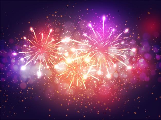 Efeito de luz de fogos de artifício coloridos sobre fundo roxo para o conceito de celebração. Vetor Premium