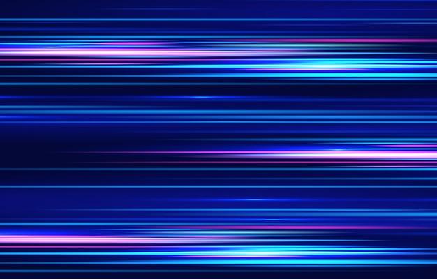 Efeito de luz de movimento para banners. linhas azuis. o efeito da velocidade em um azul. linhas vermelhas de luz, velocidade e movimento. reflexo de lente de vetor. Vetor Premium