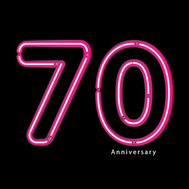 Efeito de luz de néon 70º aniversário Vetor Premium
