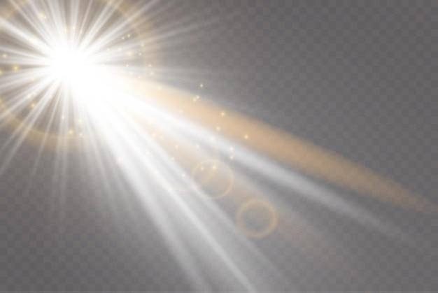 Efeito de luz de reflexo de lente especial de luz solar transparente. efeito de luz brilhante com raios e vigas de ouro. Vetor Premium