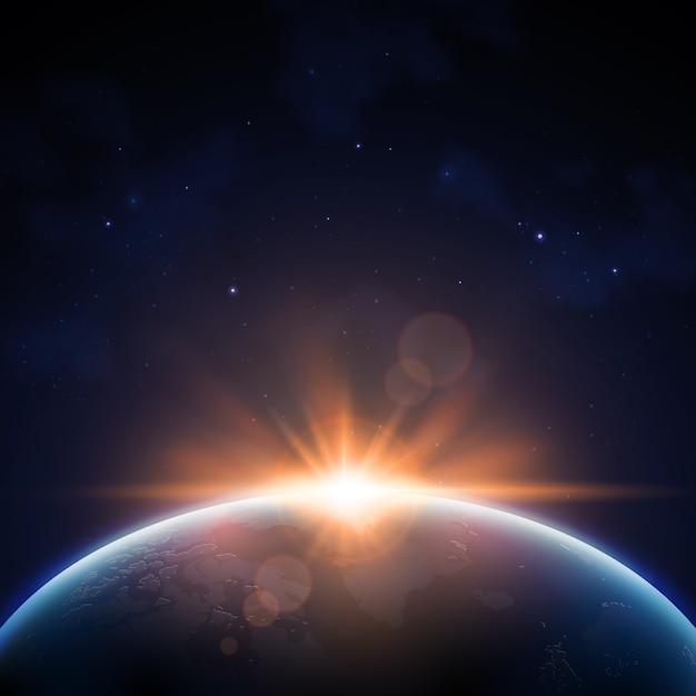 Efeito de luz do nascer do sol da terra Vetor grátis