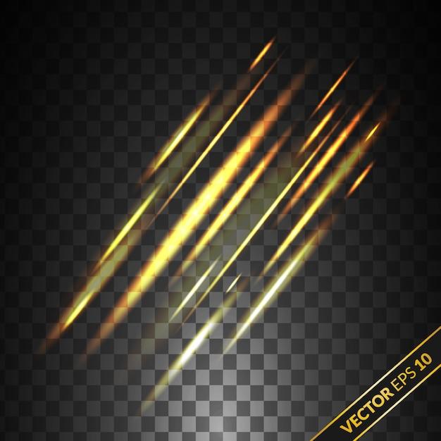 Efeito de luz dourada caindo isolado no fundo transparente. chuva de efeito de luz Vetor Premium