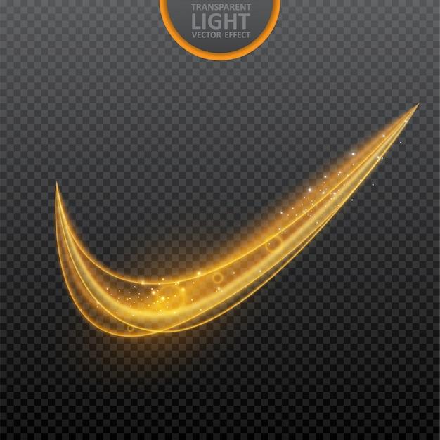 Efeito de luz dourada em transparente com efeito de luz de redemoinho brilhante Vetor Premium
