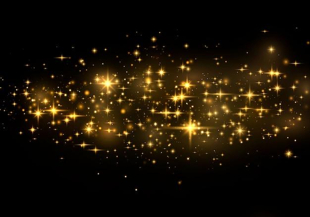 Efeito de luz elegante abstrato sobre um fundo preto. pó amarelo faíscas amarelas e estrelas douradas brilham com luz especial. sparkles partículas de poeira mágica efervescente. Vetor Premium