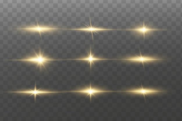 Efeito de luz. estrela brilhante. luz explode Vetor Premium