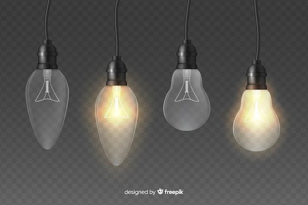 Efeito de luz ilustração lâmpadas realistas Vetor grátis