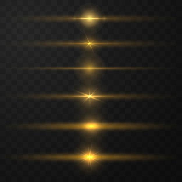 Efeito de luz mágica brilhante e trilhas longas disparam o movimento. linhas de luz de brilho abstratas Vetor Premium