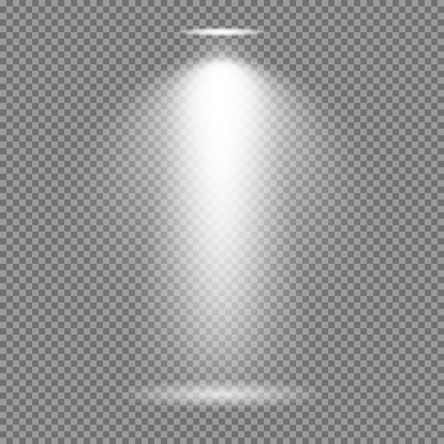 Efeito de luz no fundo transparente. coleção de vetores de luzes brilhantes Vetor Premium