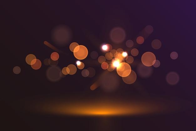 Efeito de luzes bokeh em fundo escuro Vetor grátis
