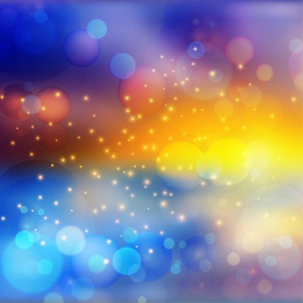 Efeito de luzes bokeh em fundo gradiente colorido Vetor Premium