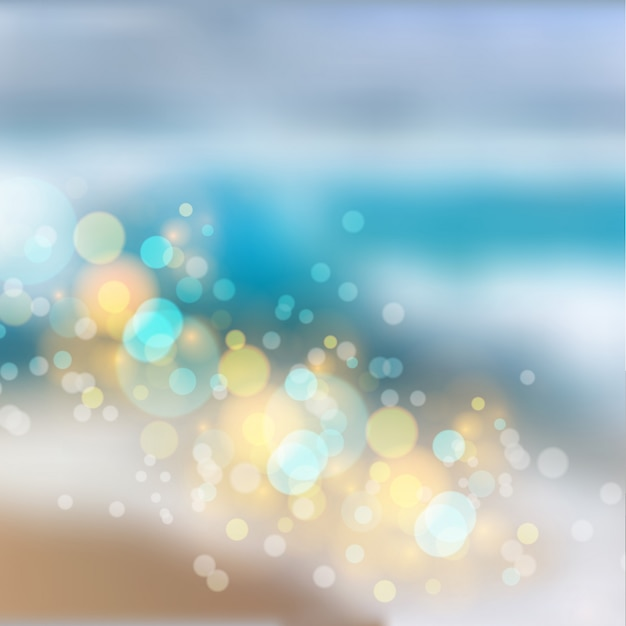 Efeito de luzes bokeh em fundo gradiente de praia Vetor Premium