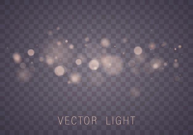 Efeito de luzes brilhantes bokeh abstrato isolado Vetor Premium