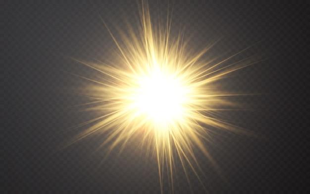 Efeito de luzes brilhantes. raios de luz de reflexo abstrato. Vetor Premium