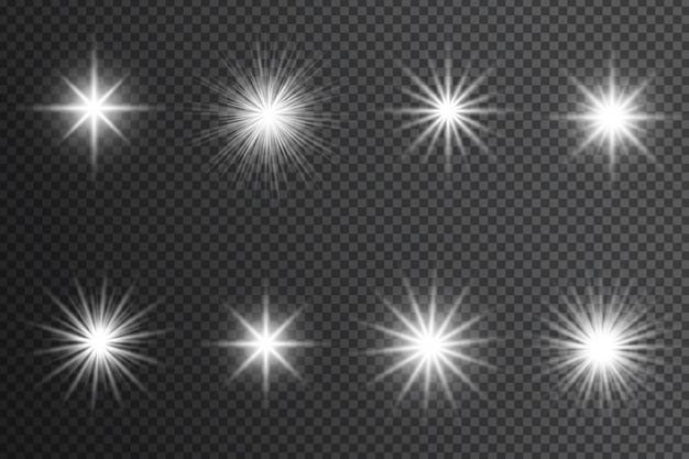 Efeito de luzes brilhantes, reflexo, explosão e estrelas. brilhos brancos sobre fundo transparente. Vetor Premium