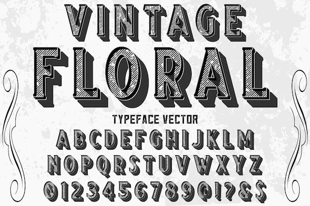 Efeito de sombra alfabeto rótulo design vintage floral Vetor Premium