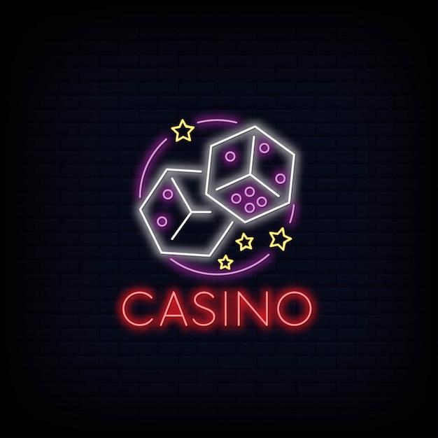 Efeito de tabuleta de sinal de néon de casino on-line Vetor Premium