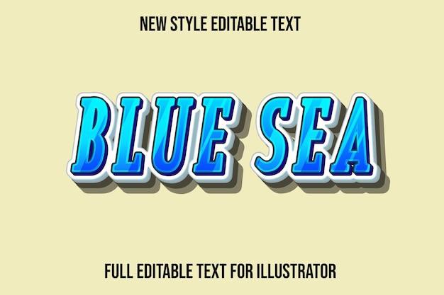 Efeito de texto 3d azul cor do mar gradiente de azul e branco Vetor Premium