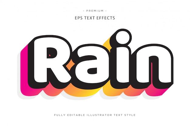 Efeito de texto 3d de chuva estilo de texto 3d Vetor Premium