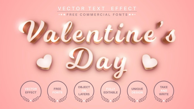Efeito de texto 3d do dia dos namorados Vetor Premium