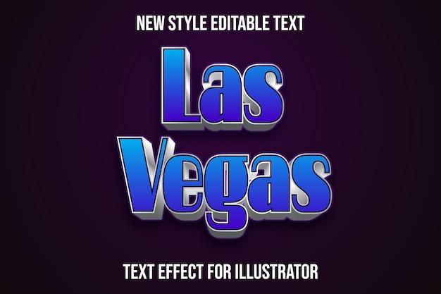 Efeito de texto 3d las vegas cor azul e gradiente de prata Vetor Premium