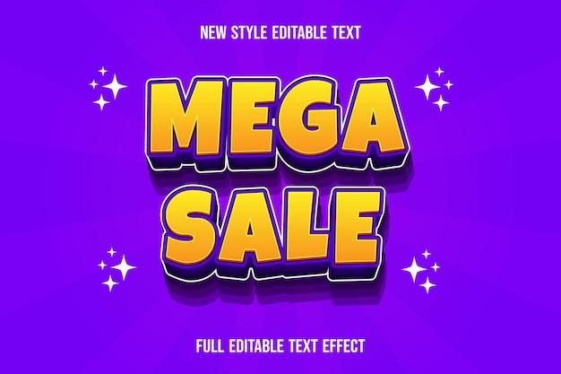 Efeito de texto 3d mega venda cor gradiente amarelo e roxo Vetor Premium