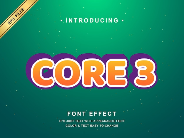 Efeito de texto 3d moderno. cor laranja e contorno branco Vetor Premium