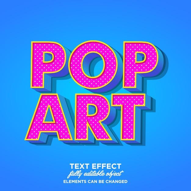 Efeito de texto 3d pop art Vetor Premium