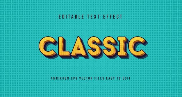 Efeito de texto clássico 3d, texto editável Vetor Premium