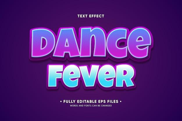 Efeito de texto da febre da dança Vetor grátis