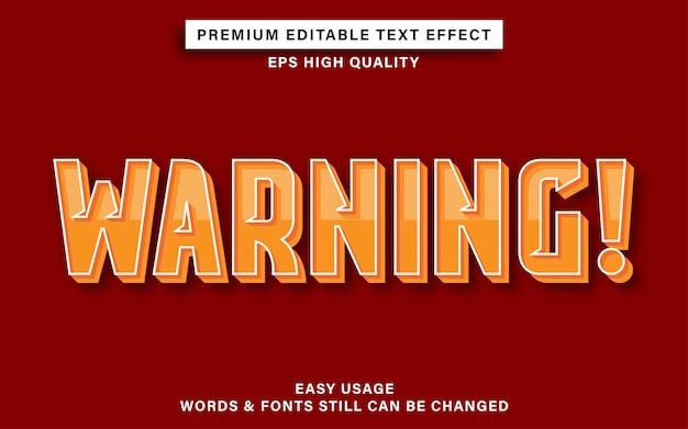 Efeito de texto de aviso Vetor Premium