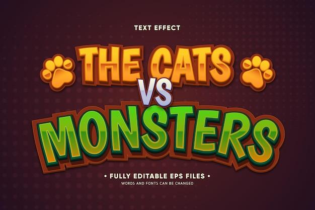 Efeito de texto de carros vs monstros Vetor grátis