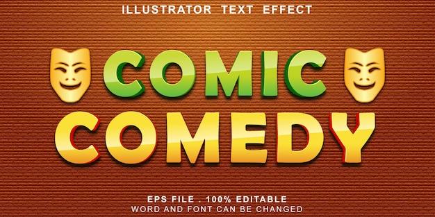 Efeito de texto de comédia em quadrinhos editável Vetor Premium
