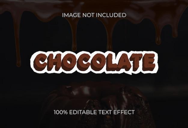 Efeito de texto de estilo 3d de chocolate Vetor Premium