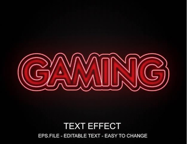 Efeito de texto de jogos de néon vermelho Vetor Premium