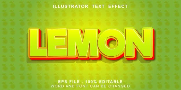 Efeito de texto de limão editável Vetor Premium