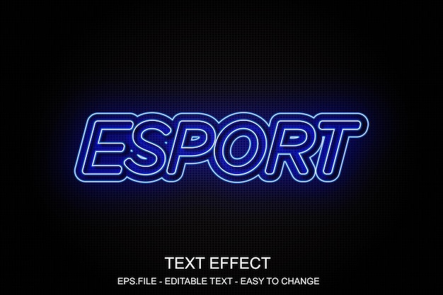 Efeito de texto de néon azul Vetor Premium