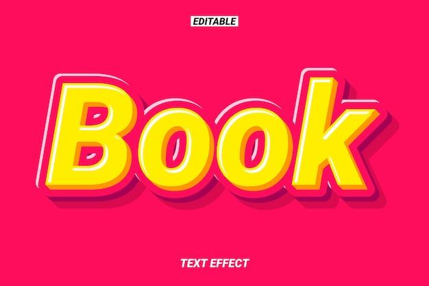 Efeito de texto de título de livro 3d moderno Vetor Premium