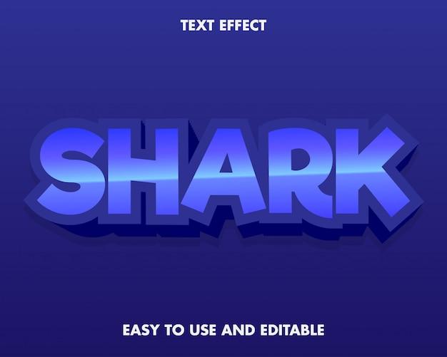 Efeito de texto de tubarão azul fácil de usar e editável. Vetor Premium