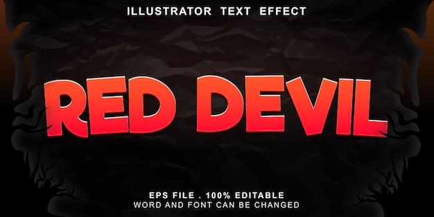 Efeito de texto diabo vermelho editável Vetor Premium