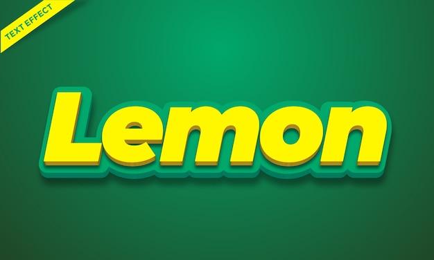Efeito de texto do alfabeto 3d amarelo limão ou design de estilo de efeito de fonte Vetor Premium