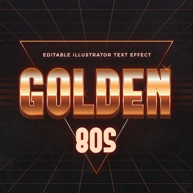 Efeito de texto dourado dos anos 80 Vetor grátis