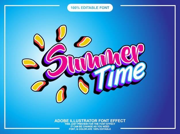 Efeito de texto editador verão moderno editável Vetor Premium